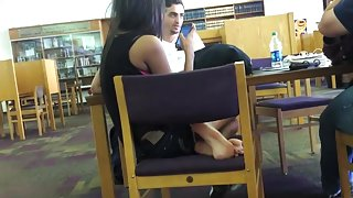 Candid Desi Teen's Feet in Library