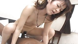 Japanese pussy is creamy for his big black cock