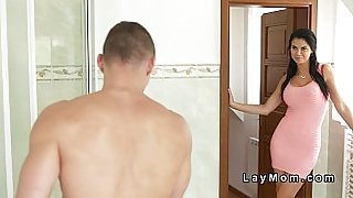 Gorgeous Milf bangs young cock in bathroom and bedroom