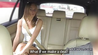 Slim blonde Euro teen bangs in fake taxi