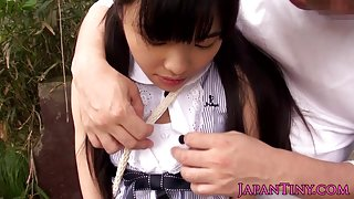 Petite japanese teen grinding cock outdoors