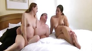 Chubby guys fuck amateurs in amateur foursome